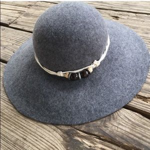 D&Y Wool Boho Hat OS with Beaded Rope Accent